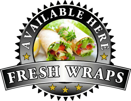 Fresh Wraps Sold Here Sticker Black Catering Sign Window Cafe Ice Cream Van
