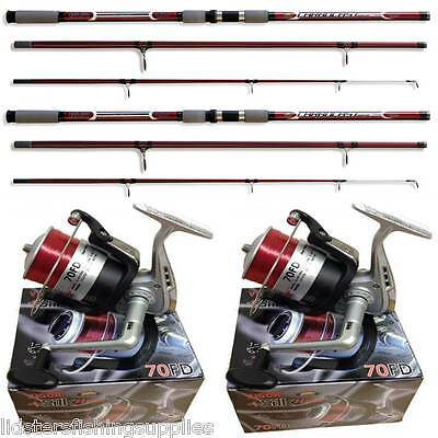 2 14FT Beach caster Sea Fishing Carbocast Rod + Reel Set SILK 70 Reels Lineaeffe