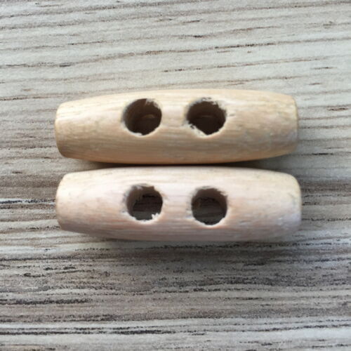 FREE UK P /& P 4 X WOODEN TOGGLES CHOOSE YOUR SIZE BUTTONS-2-HOLE NATURAL
