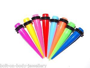 Aktiv Neon Gerade Acryl Taper / Ohr Dehner - 7 Sizes - 8 Farben