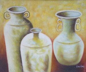 Gemaelde-Vasen-handgemalt-Leinwand-Acryl-Malerei-modern-Keramik-Terrakotta