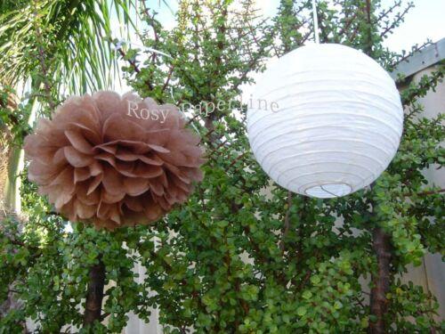 8x Mocha paper pom poms white lantern wedding party baby shower venue decoration