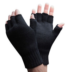 Mens-Thinsulate-3M-40-gram-Black-Insulated-Knit-Thermal-Winter-Fingerless-Gloves