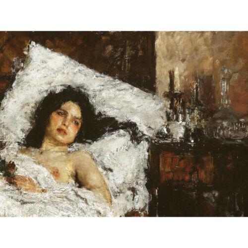 Mancini Resting Female Nude Impasto Bed Painting Large Canvas Art Print