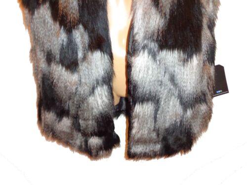 NWT Sz XS //XL DECREE Grey Black Animal Print Faux Fur Long Lined Vest Beautiful