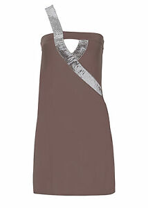 Tolles-One-Shoulder-Kleid-mit-Stil-in-Matt-Braun-Gr-32-34-Q1229-941942