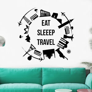 Wall Decal World Map Decal Quote Vinyl Eat Sleep Travel Nursery