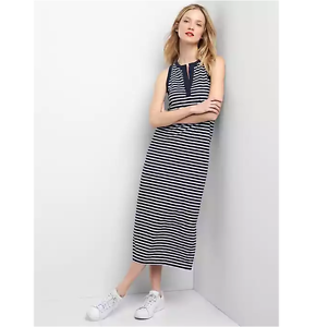 55fa701f11ca57 Gap Sleeveless split-neck maxi dress Blue Stripe Petite S item ...