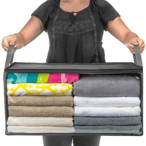 Foldable Underbed Clothes Storage Boxes Bags Zip Home Dorm Organizer Fabric Cube