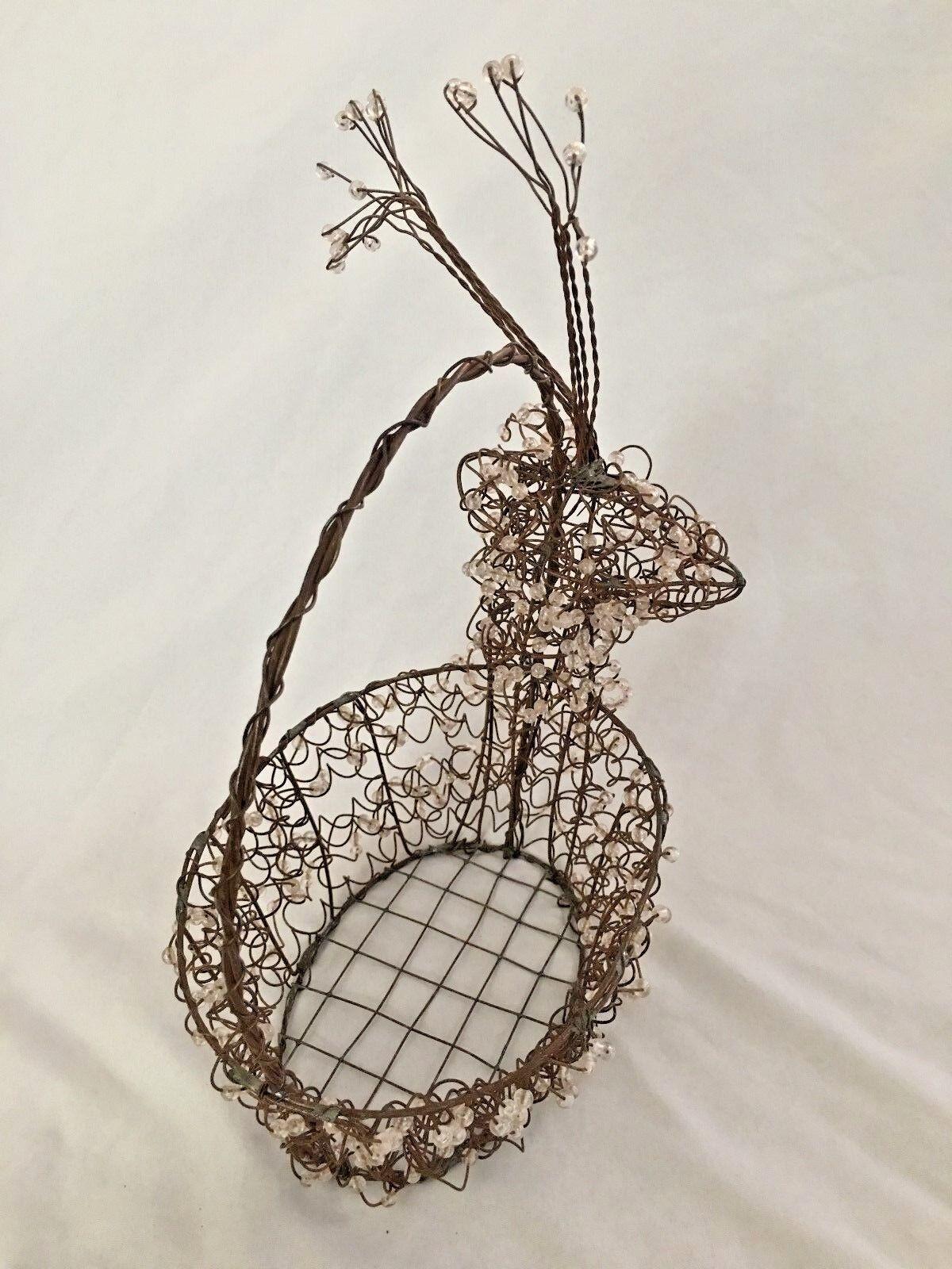Beaded Metal 13  Deer Shaped Basket Figurine