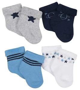 Newborn Size Gerber Baby Boy Cotton Blend Wiggle Proof Socks 4-pack