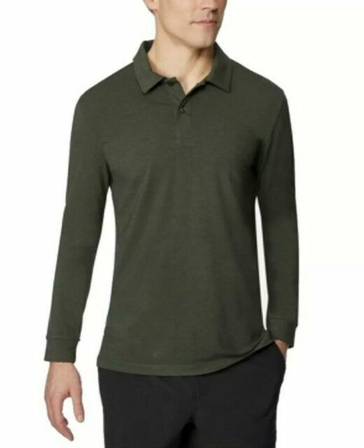 32 Degrees Heat Mens Shirt Dark Green Size Small S Polo Long-sleeve 332