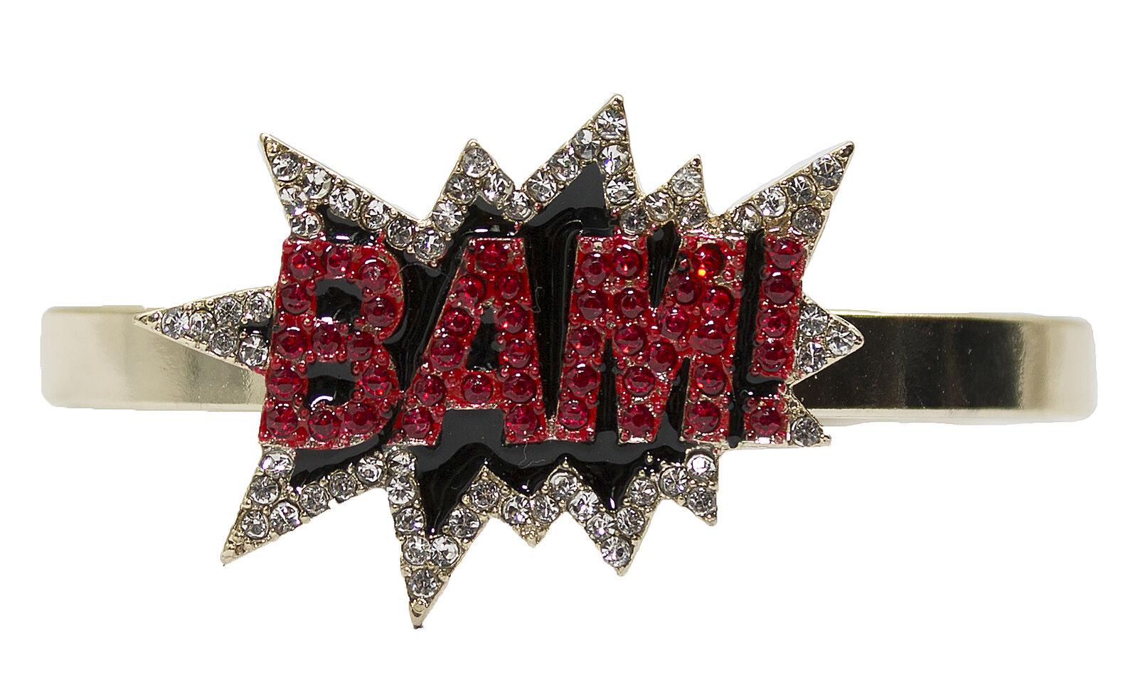 Pop Art Bangle Bracelet with Rhinestones and Enamel
