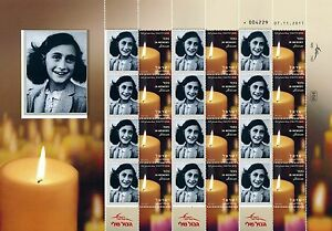 ISRAEL 2014 - 2015 HOLOCAUST ANNE FRANK SHEET MNH