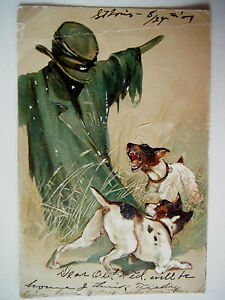 Dogs-Barking-at-Scarecrow-Embossed-Early-1900s-Old-Postcard-1904