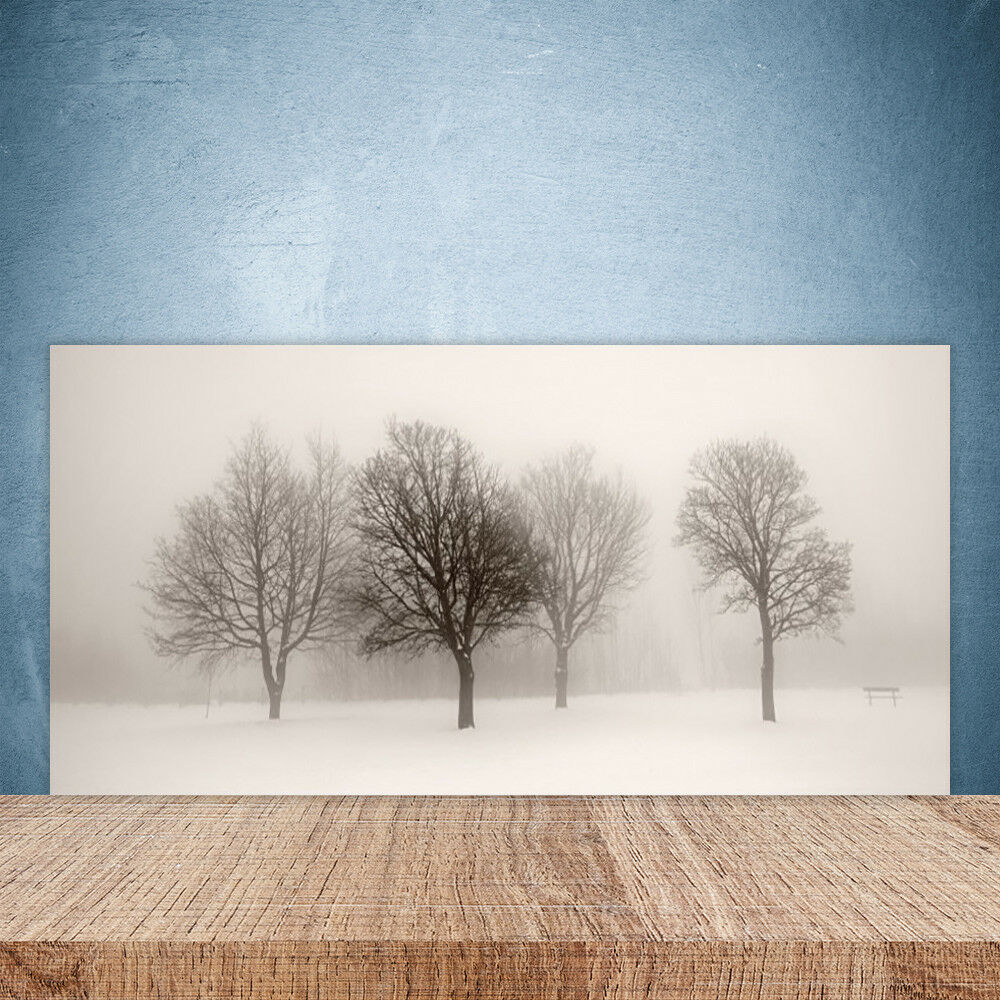 Crédence de cuisine en verre Panneau Paroi 100x50 Paysage Arbres Neige