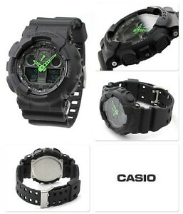 Black-amp-Green-Casio-G-Shock-Water-Resistant-Gents-Sports-Watch-2-Year-Guarantee