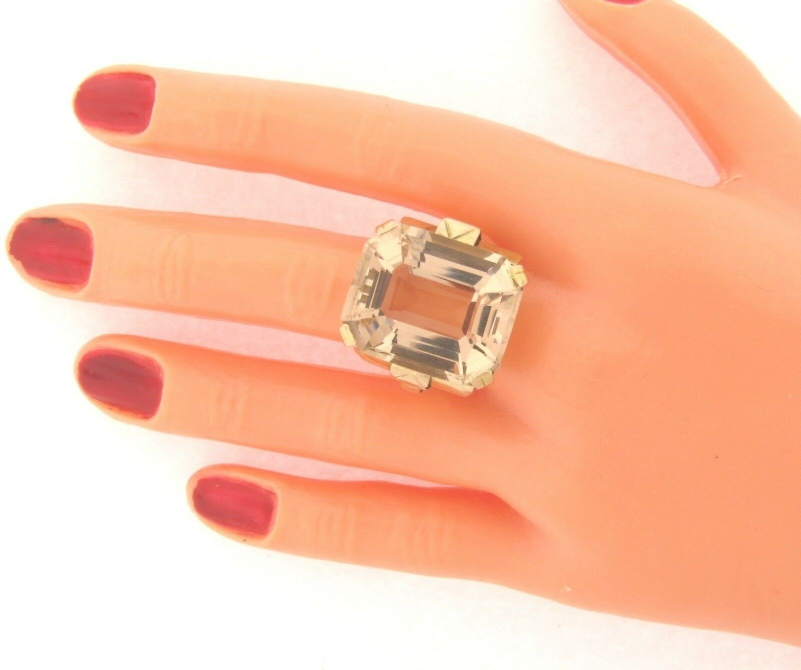 Vintage 35 Carat Gem golden Citrine Handmade Marked 18K gold Ring