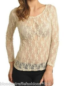 Lt-Beige-Sheer-Mesh-Stretch-Lace-Long-Sleeve-Top-S-M-L-XL-LBL-LB