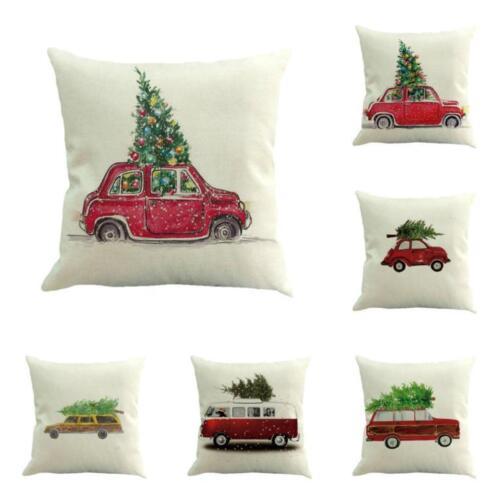 "18/"" Christmas Car Tree Printing Sofa Bed Home Pillow Cushion Cover Case Xmas"