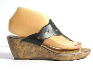 Sam & Libby Wedge Sandals Size 7.5 Black Thong (CB10)