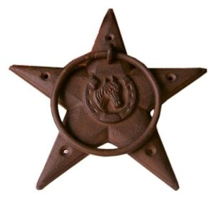 CAST-IRON-Large-Heavy-Star-With-Towel-Ring-Western-Lodge-Decor-Bath-Rustic-Brown