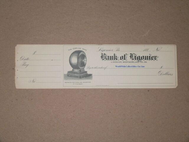 1880 Corliss Safe Vault Vignette Bank of Ligonier Pennsylvania Unused Check