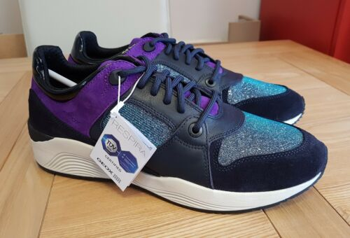 Womens Purple Top A Navy Glitter Suede Respira Low Geox Trainers Omaya pxndHHq