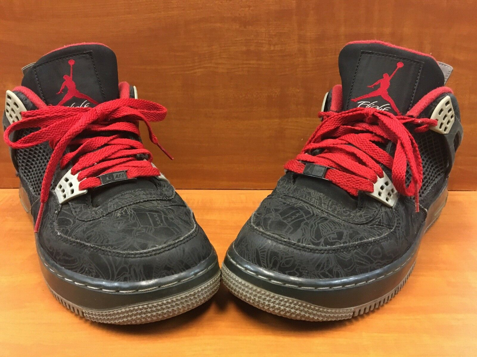 "Nike Air Jordan Force 4 AJF4 ""Laser"" Black Varsity Red 384393-001 Men's Size 9"