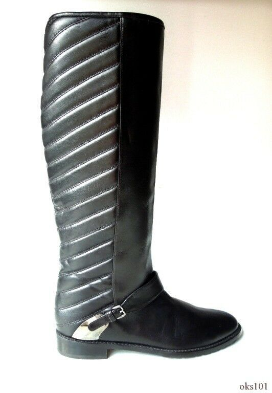 new $695 STUART WEITZMAN black smooth/quilted leather TALL BOOTS - fabulous