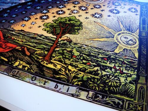 FLAMMARION ENGRAVING 1888 Psychedelic Flat Earth Poster Print of Firmament Dome