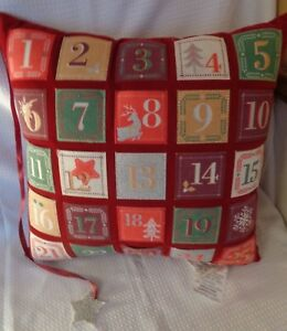 "25 days of Christmas Pillow slots with star marker NEW 18"" square NEW"