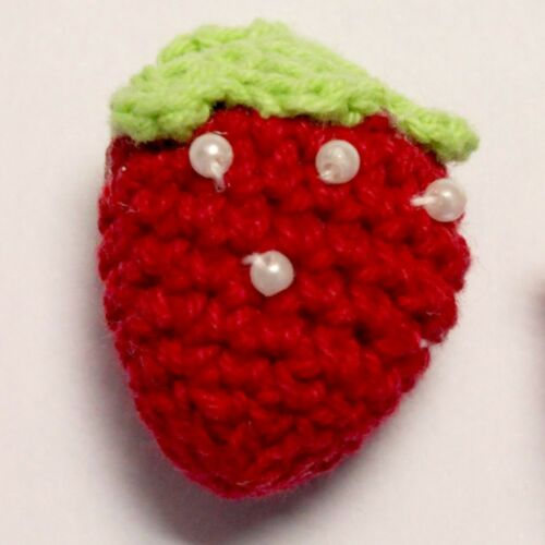 Pearl Beaded Padded Knitted Strawberry 40mm by 25mm Cardmaking Jumper BUY 3 6 12