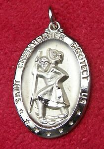Vintage-Carmelite-Nun-039-s-Sterling-Filled-St-Christopher-Pilgrimage-Rosary-Medal