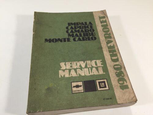 1980 Chevrolet Factory Shop Service Manual ST 329-80 Monte Carlo Impala Caprice