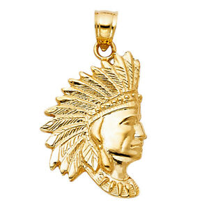 Real-14K-Yellow-Gold-Native-American-Indian-Head-Pendant-Charm