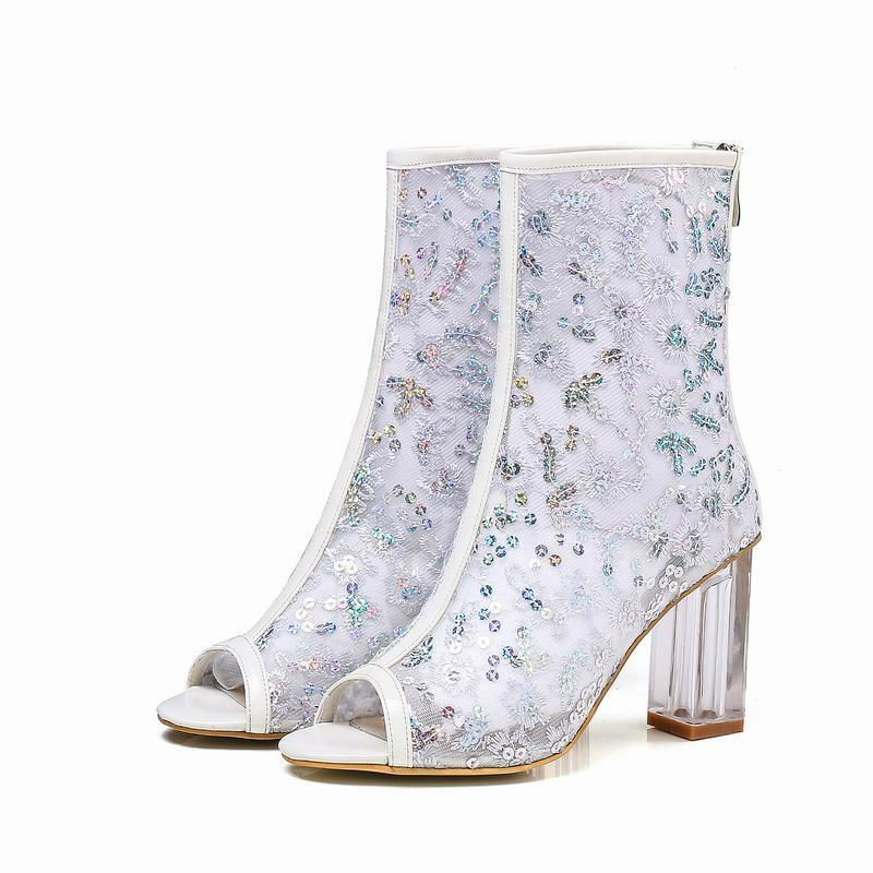 femmes Lace Mesh Breathable Back Zip Clear Chunky Heels Peep Toe bottes Sandals