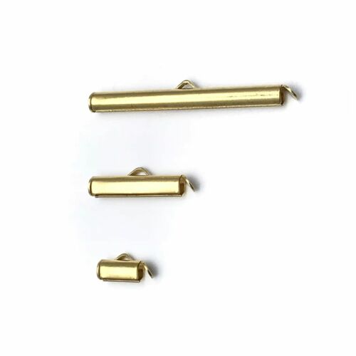 Slide On End Clasp Tubes Slider End Caps Jewellery Findings Gold Silver Tone UK