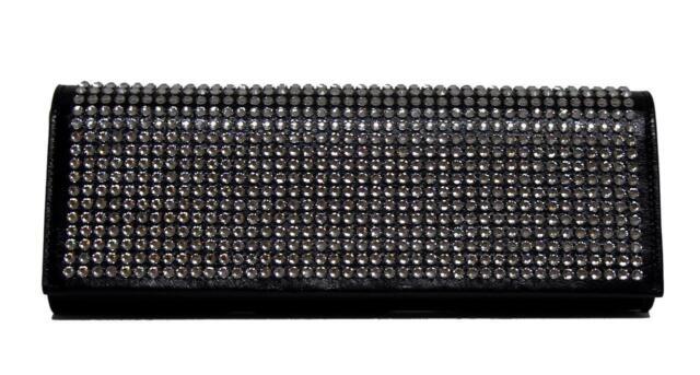 0fb1bb4d4f7 New Saint Laurent Black Fetiche Cuir Vintage Strass Leather Clutch  Messenger Bag
