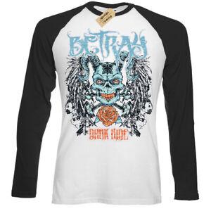 Betray-T-Shirt-Teschio-Croce-Ossa-Demone-Teschio-Diavolo-Uomo-Baseball