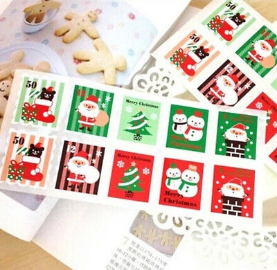 FD3076 Christmas Stickers XMAS Stamps Labels Cake Stickers Decor ~1 Pack 10PCs~