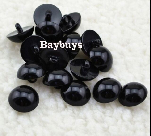 100 Sew on Glossy Black Shank Acrylic Button Bear Doll Nose Eyes DIY hand sewing