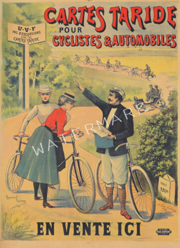 Unique Vintage Cartes Taride Bicycle Advertising Print Choice of Two sizes.