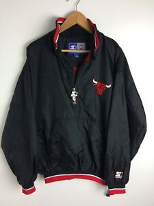 fce1bfd3b Vintage 90 s CHICAGO BULLS Starter Pullover Jacket Size Large NBA ...