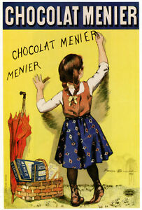 3998 Chocolat Menier French Ad POSTER. Girl writing on ...