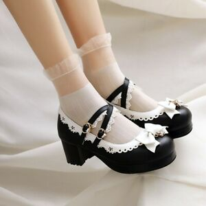 Women Lolita Mary Janes Bowknot Round Toe Block Heels Buckle Strap Cosplay Shoes