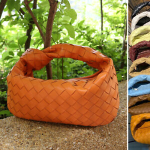 Small-Real-Leather-Woven-Draped-Knot-Pouch-Clutch-Hobo-Bag-Purse-Baguette-Tote