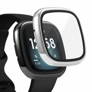 2 x Case Built in Glass Screen Protector For Fitbit Versa 3 / Sense Black+Silver
