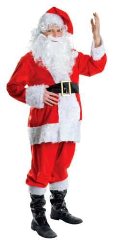 MENS FATHER CHRISTMAS COSTUME XMAS SANTA CLAUS SUIT NEW 7PC FANCY DRESS OUTFIT