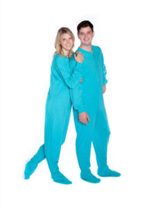 dd573279e Big Feet PJs Turquoise Jersey Knit Adult Sleeper Footed Pajamas